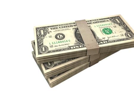 wads: 3 wads of dollar bills
