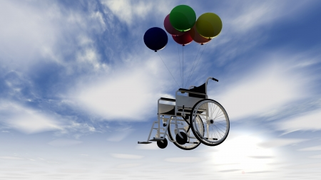 Wheel chair and balloons photo