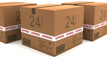 Shipping boxes 24 hours Stock Photo - 17132081