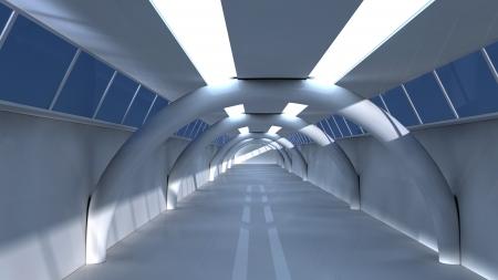 inner cylinder: Futuristic corridor Stock Photo
