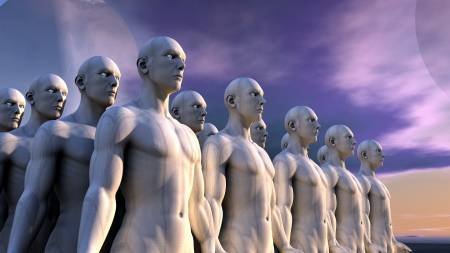 fantasy alien: Humanoids Stock Photo