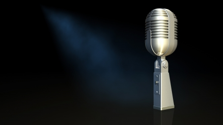 Microphone and black background photo