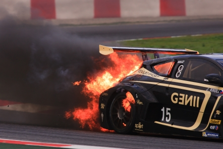 World Series by Renault Circuit de Catalunya  Barcelona-Spain  19 - 20 October 2013 Team  GRAVITY CHAROUZ Driver  Jakub KNOLL Burning car accident