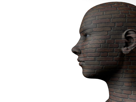 Female head and brick texture Stock Photo