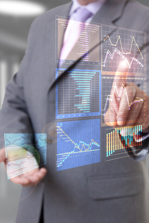 global strategy: Businessman touch screen Stock Photo