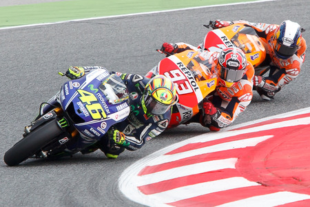 Monster Energy Grand Prix of Catalunya MotoGP  Drivers, Rosi, Marquez, Pedrosa  MOTOGP Stock Photo - 29151901