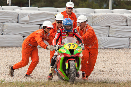 motorcycling: Rider Marc Creu Miro  CEC Alcarras Team  Mediterranean Motorcycling Championships 20 July 2014  Circuit de Catalunya  Barcelona, Spain