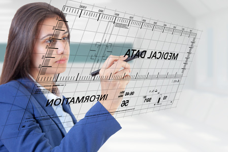 Woman pen touch medical data Stock Photo