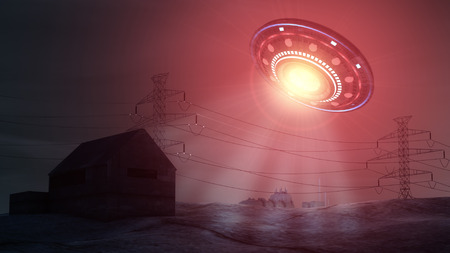 Ufo attacking and abducting a house photo