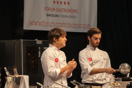 Chef Jordi Cruz. 4 stars Michelin  (Restaurant ABaC). Gastronomic Forum in Barcelona, Spain. October 23, 2014.