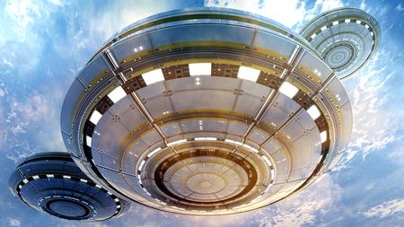 3d UFO attack Archivio Fotografico