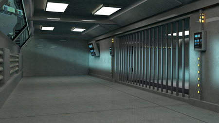 jail: Futuristic architecture interior jail Stock Photo