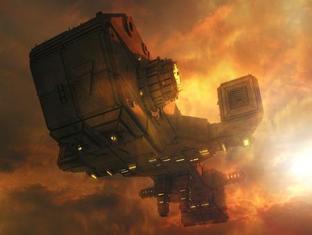 3d UFO concept ship 写真素材