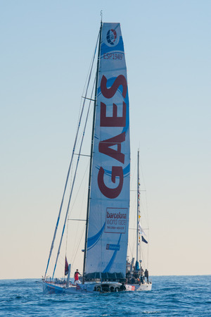 regatta: Team Gaes. Barcelona World Race, non-stop, round the world regatta. Barcelona, Spain. December 31, 2014