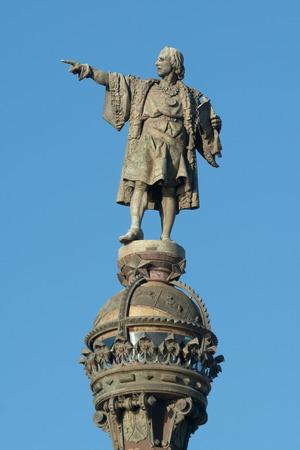 cristobal colon: Statue of Christopher Columbus in the Rambla de Barcelona