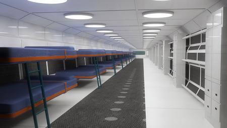 futuristic interior: Futuristic interior and berths