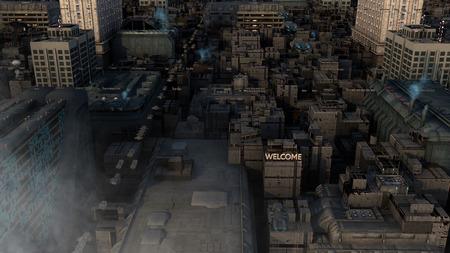futuristic city: 3d Futuristic architecture city concept Stock Photo