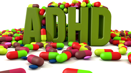 hyperactivity: ADHD disorder 3d text