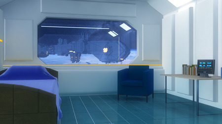 futuristic interior: Futuristic interior and window space