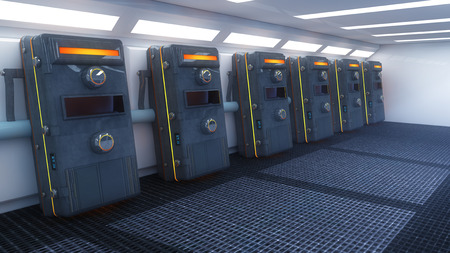 futuristic interior: Futuristic interior and capsules