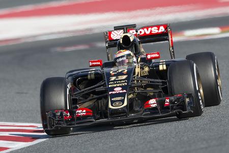 team lotus: Driver Pastor Maldonado. Team Lotus. Formula One Test Days at Circuit de Catalunya. Montmelo, Spain. February 27, 2015