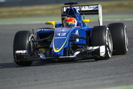 Driver Felipe Nasr. Team Sauber. Formula One Test Days at Circuit de Catalunya. Montmelo, Spain. February 27, 2015