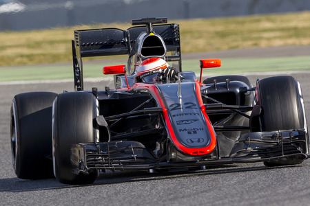 Driver Jenson Button. Team McLaren. Formula One Test Days at Circuit de Catalunya. Montmelo, Spain. February 27, 2015