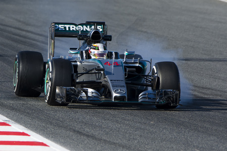 Driver Lewis Hamilton. Team Mercedes. Formula One Test Days at Circuit de Catalunya. Montmelo, Spain. February 28, 2015