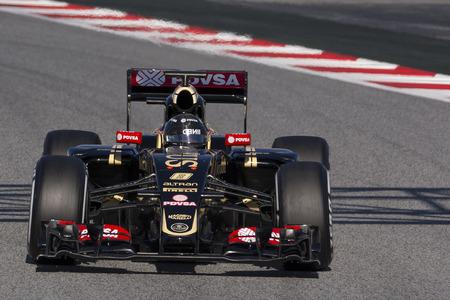 f1: Driver Romain Grosjean. Team Lotus F1. Formula One Test Days at Circuit de Catalunya. Montmelo, Spain. February 28, 2015