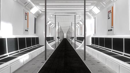 futuristic interior: Futuristic scifi interior corridor Stock Photo