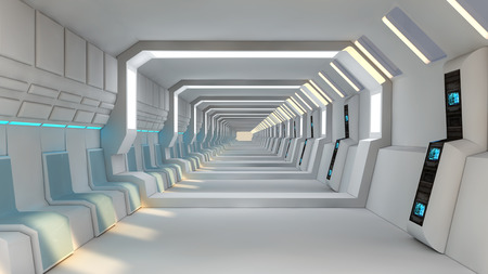 Futuristic scifi interior corridor Stock Photo
