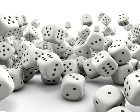 Falling gaming dice Stock Photo