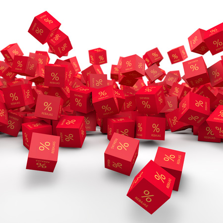 falling cubes: Red Cubes falling and discounts Stock Photo