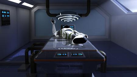 futuristic interior: Futuristic interior corridor and robot Stock Photo