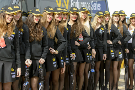 Pit Lane Girls.  V de V Endurance Series at Circuit de Barcelona. Montmelo, Spain. March 22, 2015