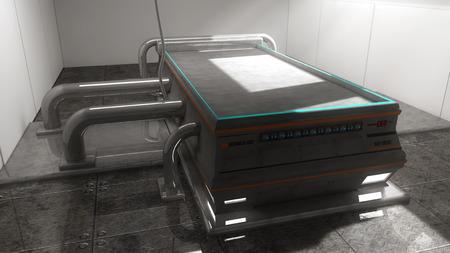 autopsy: Futuristic autopsy table Stock Photo