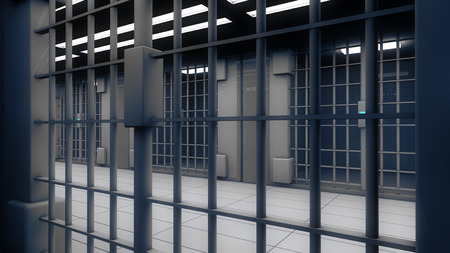 3d interior jail Stock Photo