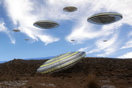 abduct: UFO and mountain Stock Photo