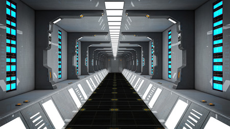 Futuristic SCIFI corridor Stock Photo