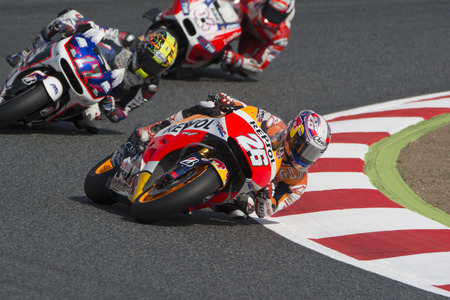repsol honda: Driver Dani Pedrosa. Repsol Honda Team. Monster Energy Grand Prix of Catalunya MotoGP. Barcelona Spain  June13 2015