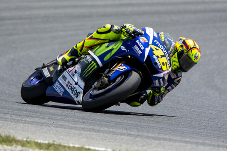 prix: Valentino Rosi Yamaha Team on Monster Energy Grand Prix of Catalunya MotoGP. June14 2015 Barcelona Spain