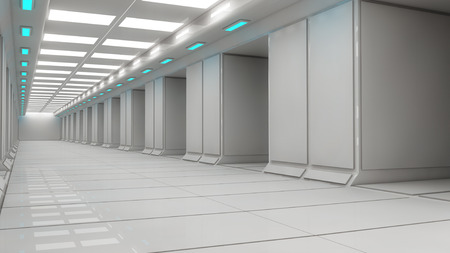 futuristic interior: SCIFI interior corridor Stock Photo