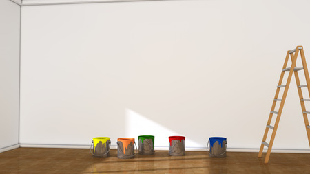 paint cans: Interior room and paint cans Stock Photo