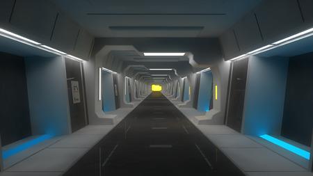 scifi: Futuristic SCIFI corridor architecture Stock Photo