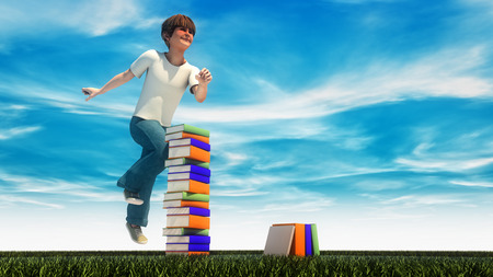 nonfiction: Young boy jumping on the grass with books