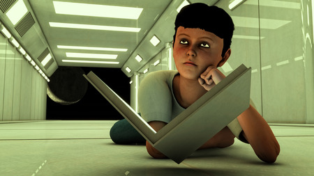 scenario: Young boy with book and futuristic scenario Stock Photo