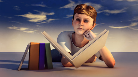 nonfiction: Young boy with book Stock Photo