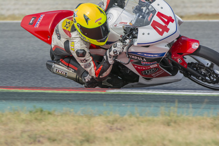 motorcycling: Driver Jorge Hernandez. Honda CBR250R. Mediterranean Motorcycling Championships. Barcelona, Spain - July 19, 2015