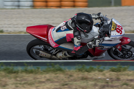 motorcycling: Driver Guillermo Hernandez. Honda CBR250R. Mediterranean Motorcycling Championships. Barcelona, Spain - July 19, 2015