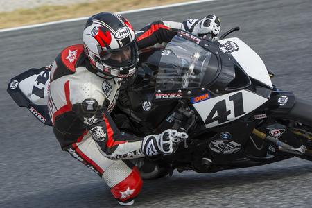 motorcycling: Driver Manuel Santiago. BMW S1000RR. Mediterranean Motorcycling Championships. Barcelona, Spain - July 19, 2015